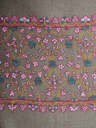 Grey-Pink Hand-embroidered Pashmina Shawl