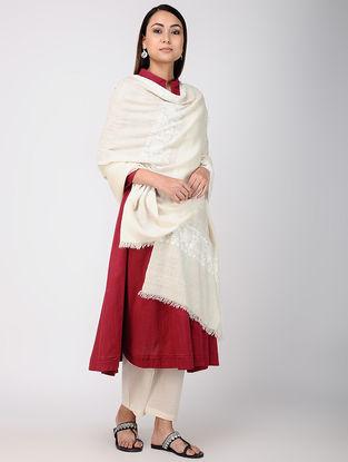 Ivory-White Hand-embroidered Pashmina Shawl