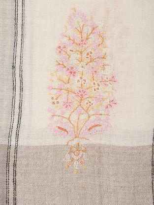 Ivory-Pink Hand-embroidered Pashmina Shawl