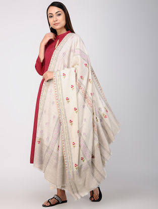 Ivory-Red Hand-embroidered Pashmina Shawl