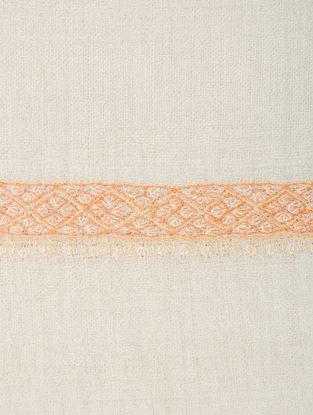 Ivory-Orange Hand-embroidered Pashmina Shawl