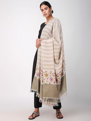 Ivory-Beige Pashmina Cashmere Kani Shawl
