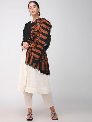 Black-Red Pashmina Cashmere Kani Shawl