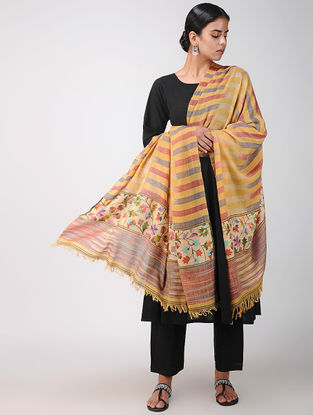 Yellow-Red Ikat Pashmina Cashmere Kani Shawl