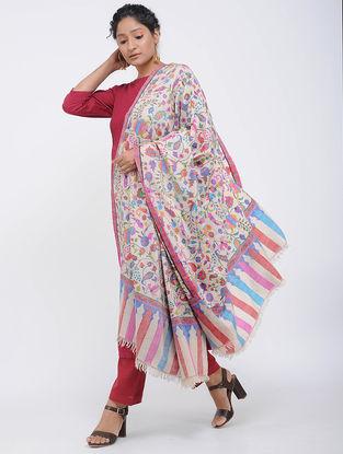 Ivory-Red Pashmina Kani Jamawar Shawl