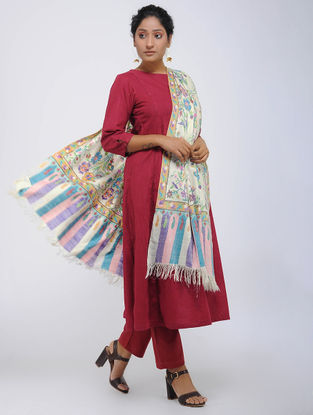 Ivory-Blue Pashmina Kani Jamawar Shawl