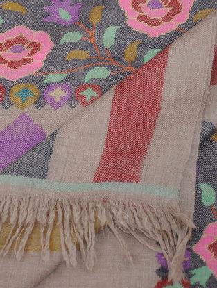 Grey-Pink Pashmina Kani Shawl