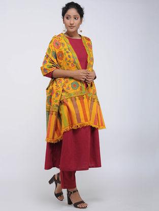 Yellow-Red Pashmina Kani Jamawar Shawl