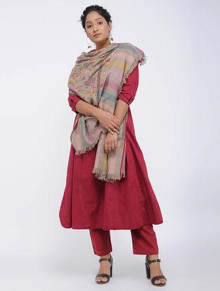 Grey-Purple Pashmina Kani Jamawar Shawl
