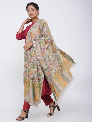 Ivory-Green Pashmina Kani Jamawar Shawl