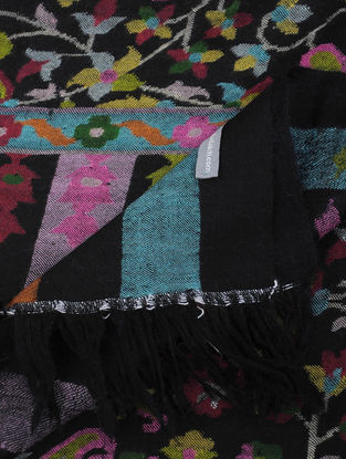 Black-Pink Pashmina Kani Jamawar Shawl