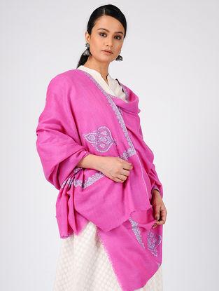 Pink-Ivory Sozni-embroidered Pashmina Cashmere Stole