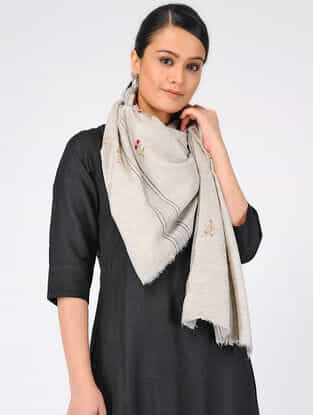 Ivory-Red Sozni-embroidered Pashmina Cashmere Stole