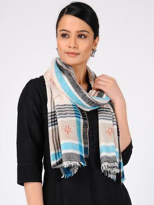 Ivory-Blue Sozni-embroidered Pashmina Cashmere Stole