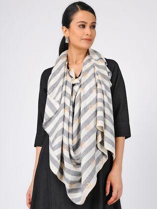 Ivory-Grey Sozni-embroidered Pashmina Cashmere Stole