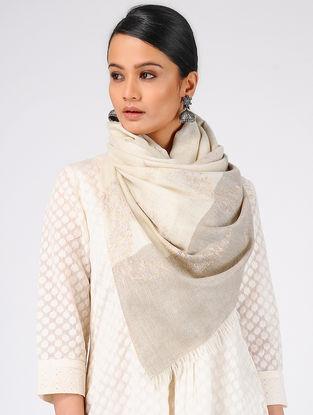 Ivory Sozni-embroidered Pashmina Cashmere Stole