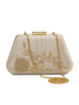 Beige Pure Silk Clutch with Zardozi Embroidery