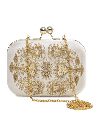Ivory-Golden Embroidered Pure Silk Clutch