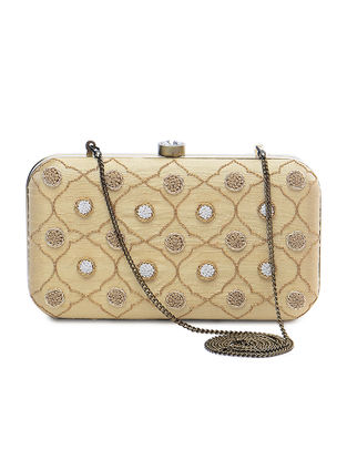 Beige Raw Silk Clutch with Zardozi and Aari Embroidery