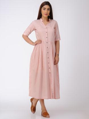 Pink Gathered Button-down Cotton Dress