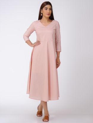 Pink V-Neck Cotton Dress