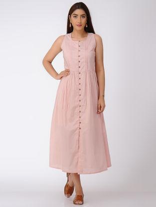 Pink Pintuck Button-down Cotton Dress