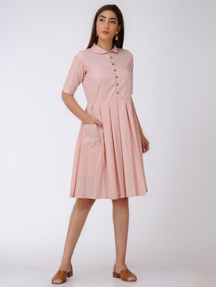 Pink Pleated Cotton Dress with Pocket