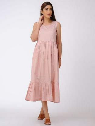 Pink Gathered Cotton Dress with Pocket