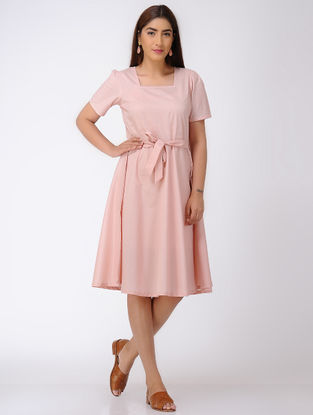 Pink Tie-up Waist Cotton Dress