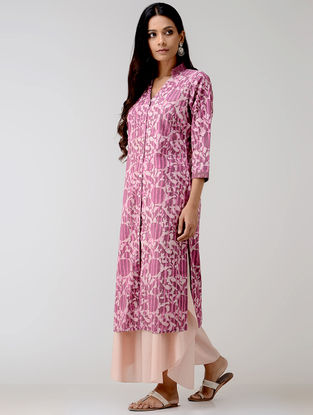 Purple Dabu-printed Cotton Kurta