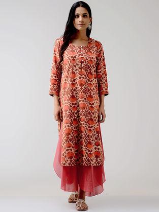 Red Dabu-printed Cotton Kurta