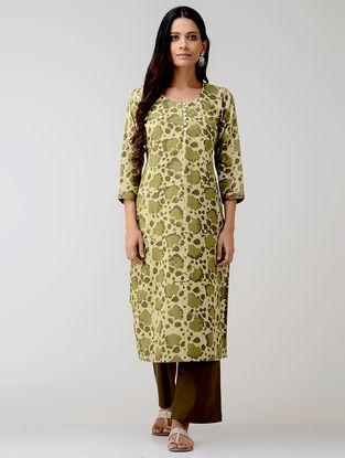 Green Dabu-printed Cotton Kurta