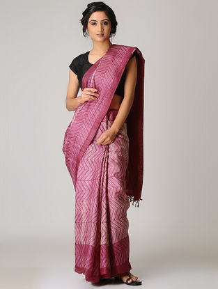 Pink-Ivory Shibori Tussar Silk Saree