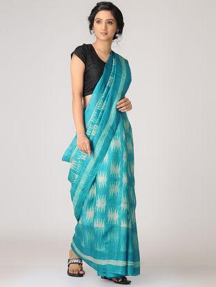 Blue-Yellow Shibori Tussar Silk Saree