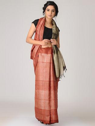 Red-Beige Shibori Tussar Silk Saree