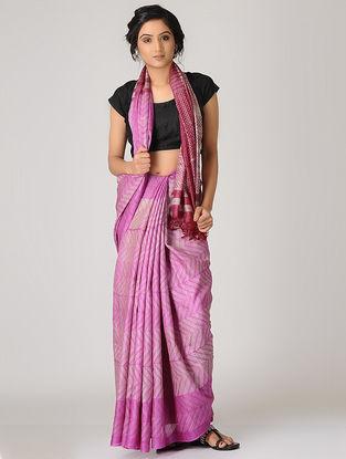 Pink-Beige Shibori Tussar Silk Saree