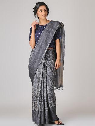 Grey-Beige Shibori Tussar Silk Saree