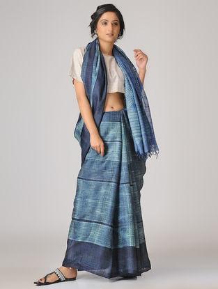 Blue-Ivory Shibori Tussar Silk Saree
