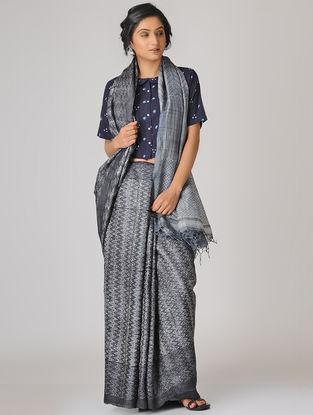 Grey-Ivory Shibori Tussar Silk Saree