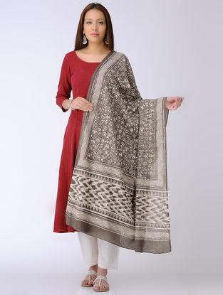 Kashish-Ivory Dabu-printed Cotton Mul Dupatta