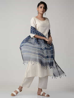 Indigo-White Dabu-printed Kota Silk Dupatta with Zari Border