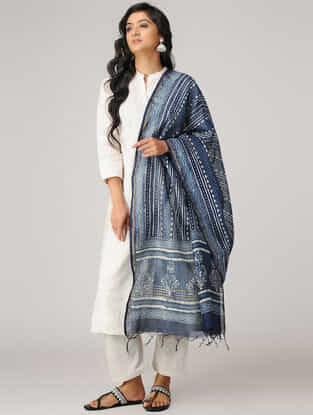 Indigo-Ivory Natural-dyed Dabu-printed Chanderi Dupatta with Zari Border