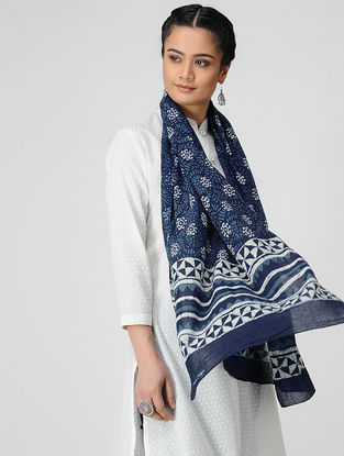 Blue-Ivory Dabu-printed Cotton Mul Stole
