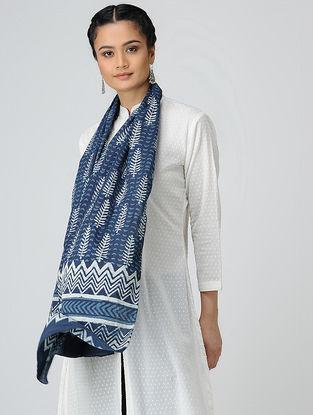 Blue-Ivory Dabu-printed Cotton Mul Stole