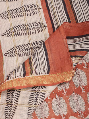 Ivory-Red Bagru-printed Chanderi Dupatta