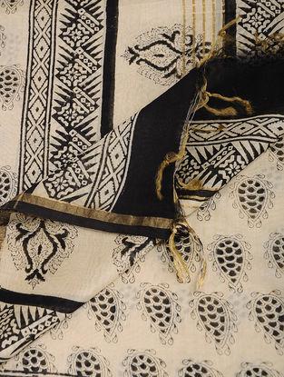 Ivory-Black Bagru-printed Chanderi Dupatta with Zari