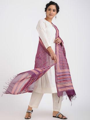 Purple-Peach Dabu-printed Chanderi Dupatta with Zari