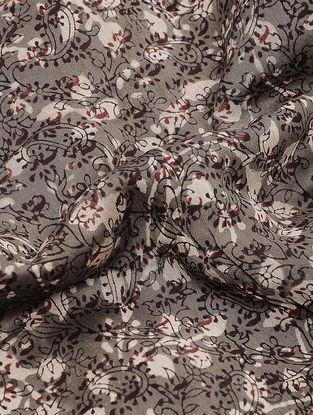 Grey-Ivory Dabu-printed Chanderi Fabric