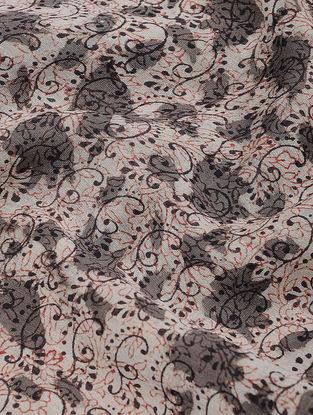 Ivory-Grey Dabu-printed Chanderi Fabric