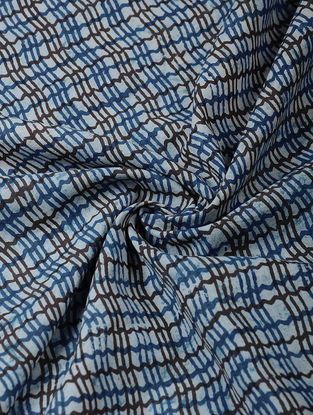 Indigo-Black Dabu-printed Cotton Fabric